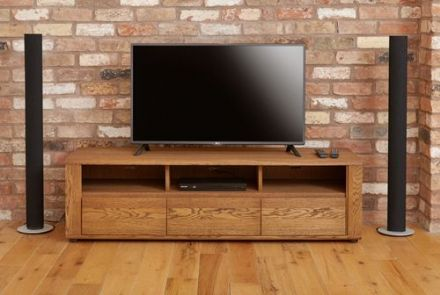 Olten Dark Oak Widescreen TV Cabinet with Three Drawers